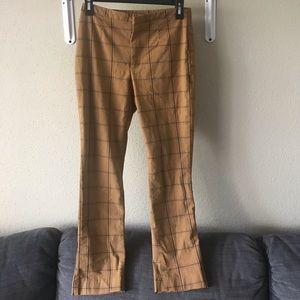 Free people high waisted plaid pants